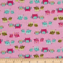 It's a Hoot Mother & Child Pink Fabric