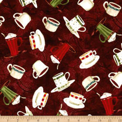 International Coffee Cups Brown Fabric