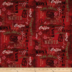 International Coffee Words Wine Fabric