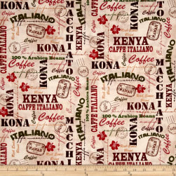 International Coffee Words Cream Fabric