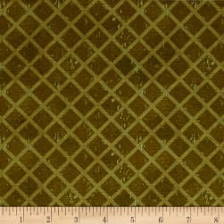 International Coffee Lattice Olive Fabric