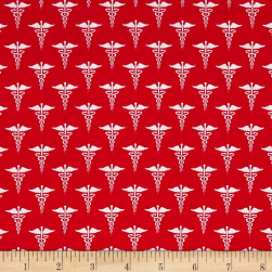 Calling All Nurses Symbol Red Fabric