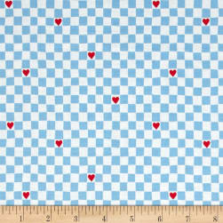 Going Steady Checkerboard Hearts Perwinkle Fabric