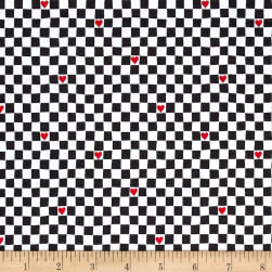 Going Steady Checkerboard Hearts Charcoal Fabric