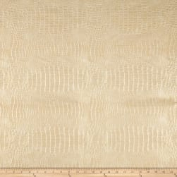 Faux Leather Metallic Gator Eggshell Fabric