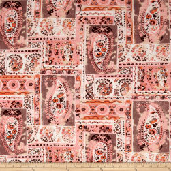 Bubble Crepe Large Paisley Coral/Tan Fabric