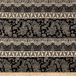 Rayon Crepe Paisley Heart Print Black/Natural Fabric