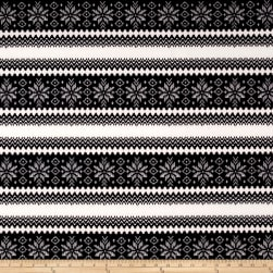 Techno Scuba Knit Snowflake White/Black Fabric