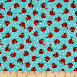 Snow Much Fun Cardinals Aqua Ice Fabric