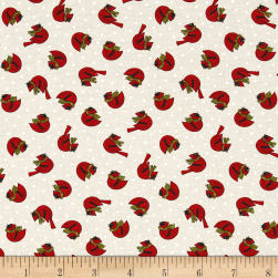 Snow Much Fun Cardinals Snowy White Fabric