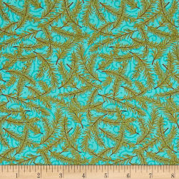 Snow Much Fun Evergreen Branches Aqua Ice Fabric