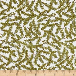 Snow Much Fun Evergreen Branches Snowy White Fabric