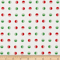 Moda Red Dot Green Dash Brushed Cottons Half Snowballs Multi