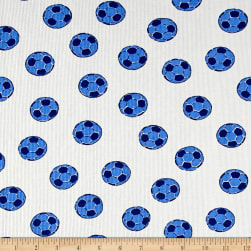 Pajama Rib Knit Soccer White/Blue Fabric
