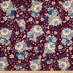 Art Gallery Soulful Floral Universe Plum Fabric