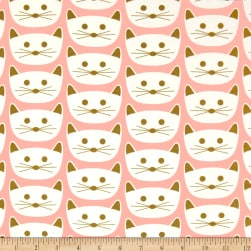 Art Gallery Blush Jersey Knit Cat Nap Pink
