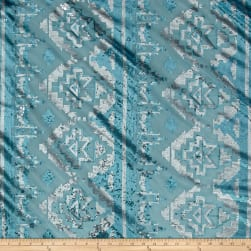 Geometric Metallic Sequin Mesh Aqua/Silver Fabric