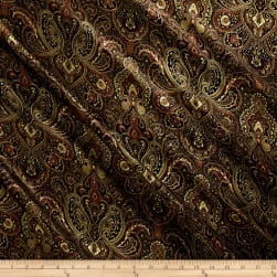 Paisley Satin Brocade Black/Multi Fabric