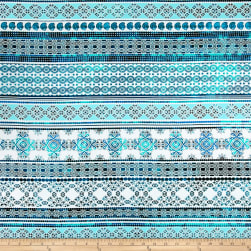 Telio Picasso Poplin Patterned Stripe White/Aqua