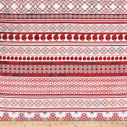 Telio Picasso Poplin Patterned Stripe White/Red Fabric