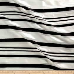 Telio Sheer Satin Organza Stripe Black/White Sateen Fabric