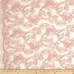 Starlight Mesh Lace Rosedale Pink Fabric