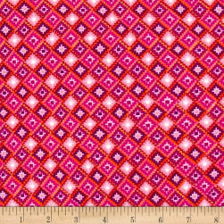 Double Brushed Jersey Knit Geometric Fuschia/Purple Fabric