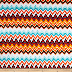 Rayon Spandex Knit Chevron Orange/White/Turquoise Fabric