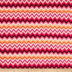 Rayon Spandex Jersey Knit Chevron Red/Pink/Black Fabric