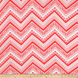 Rayon Spandex Jersey Knit Zig Zag Red/White Fabric