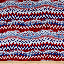 ITY Jersey Knit Zig Zag Red/White/Blue Fabric