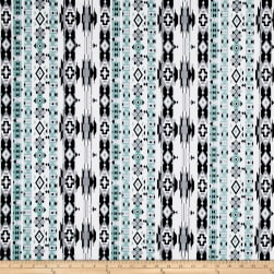 ITY Jersey Knit Geometric Turquoise/Black Fabric