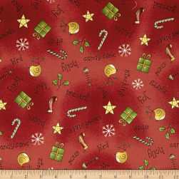 All Things Christmas All Over Toss Red Fabric