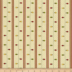 All Things Christmas Stripe Bulb Yellow Fabric