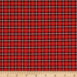 Cozy Cabin Christmas Plaid Metallic Red