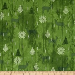 Cozy Cabin Christmas Wood Texture Metallic Green