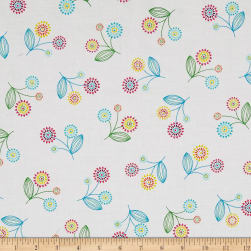 Stella Toss Flower White Fabric