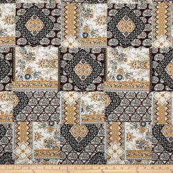 Rayon Challis Geometric Brown
