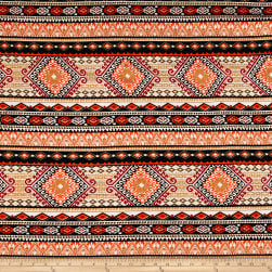 Rayon Challis Aztec Stripe Black/Orange Fabric