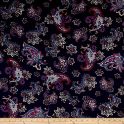 Rayon Challis Large Paisley Blue/Red