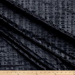 Telio Gridiron Stretch Velvet Burnout Geo Charcoal Fabric