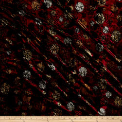 Telio Stretch Velvet Burnout Circles Burgundy Fabric