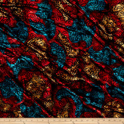 Telio Stretch Velvet Burnout Floral Black/Red/Blue/Yellow Fabric