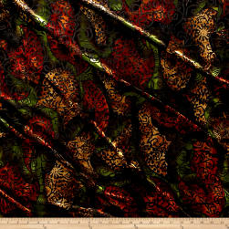 Telio Stretch Velvet Burnout Floral Black/Green/Orange/Yellow Fabric
