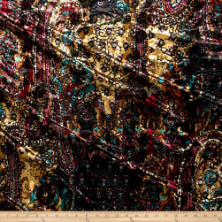 Telio Stretch Velvet Burnout Paisley Floral Purple Fabric