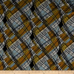 Telio Crepe Knit Plaid Abstract Navy/Yellow/Orange Fabric