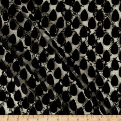 Telio Teardrop 3-D Lace Black/Gold Fabric