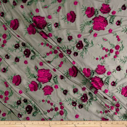 Telio Amor Embroidery Rose Lace Black/Hot Pink Fabric
