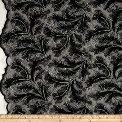 Telio Extravagance Embroidered Lace Black/Silver Fabric