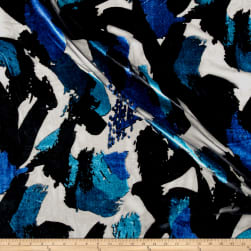 Telio Rayon/Nylon Velvet Burnout Abstract Royal/Teal Fabric